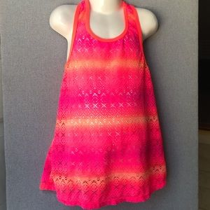 Neon Lace Girls Coverup (Pink/Orange)